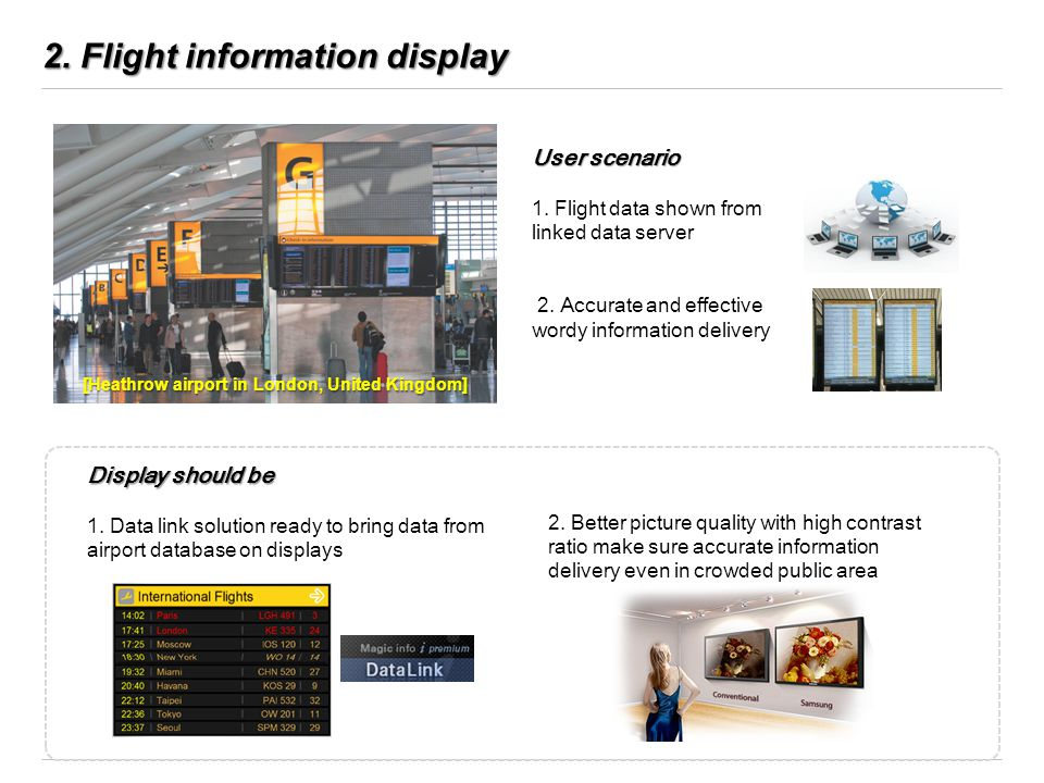 2. Flight information display User scenario 1. Flight data shown from linked data server 2. Accurate and effective wordy information delivery Display
