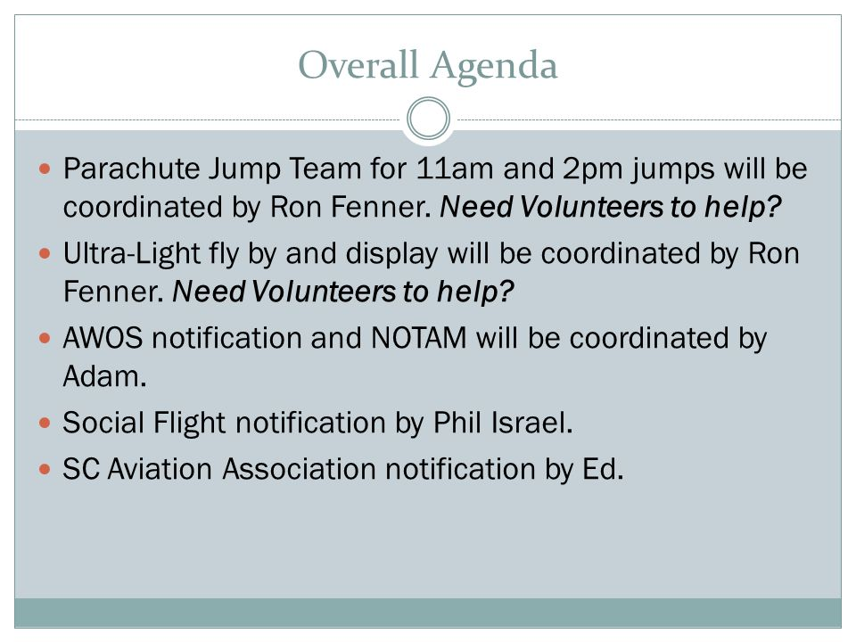 Overall Agenda Parachute Jump Team for 11am and 2pm jumps will be coordinated by Ron Fenner.