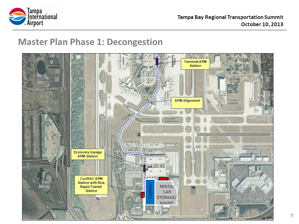 Tampa Bay Regional Transportation Summit October 10, 2013 Master Plan Phase 1: Decongestion 8 22g Multi-Level ConRAC APM Station with BRT Future Employee Parking