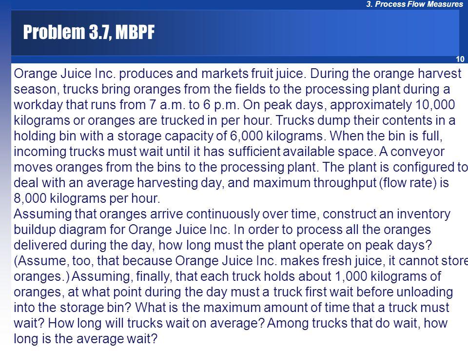 10 3. Process Flow Measures Orange Juice Inc. produces and markets fruit juice. During the orange harvest season, trucks bring oranges from the fields
