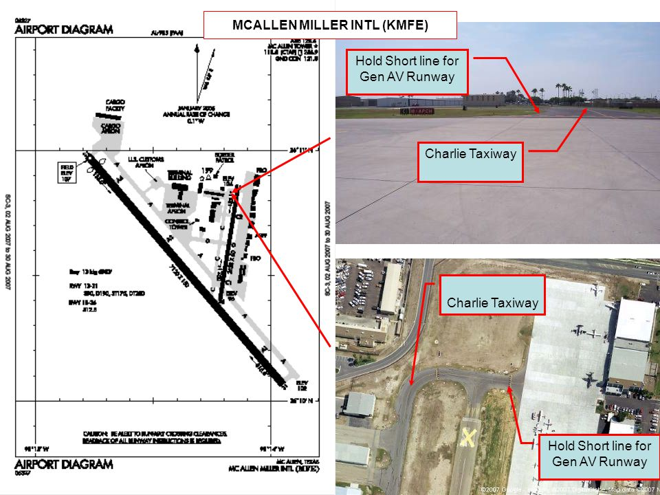 Hold Short line for Gen AV Runway Charlie Taxiway Hold Short line for Gen AV Runway MCALLEN MILLER INTL (KMFE)