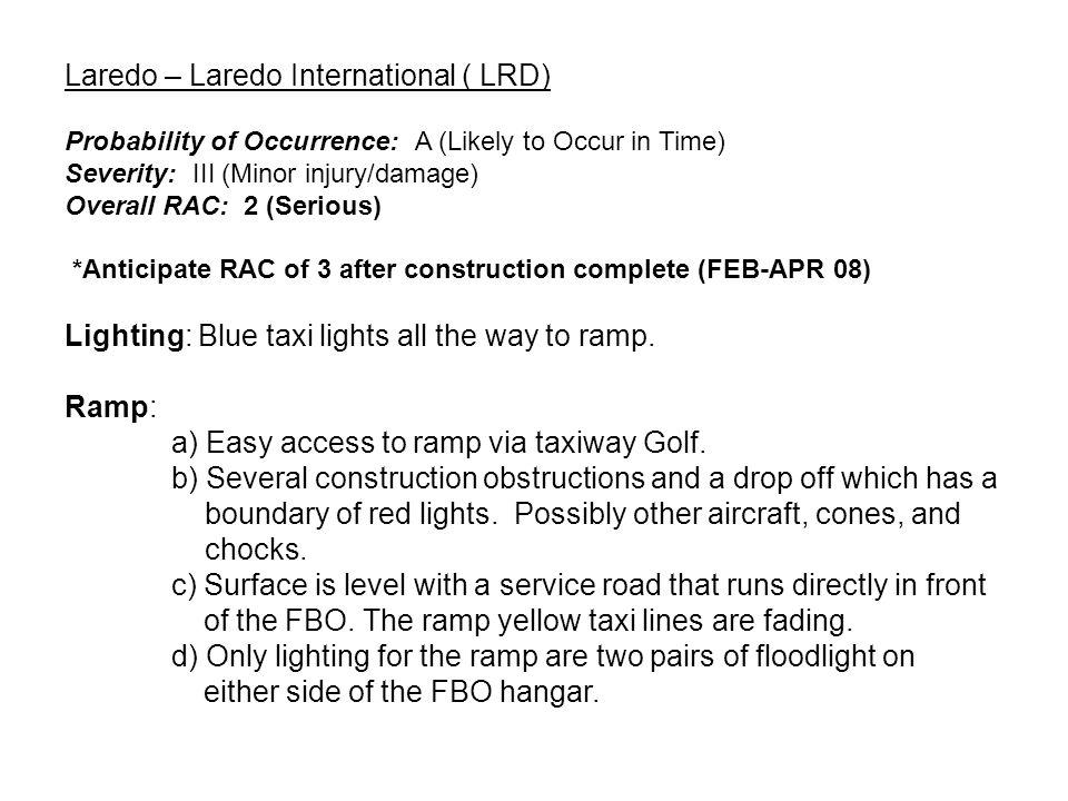Construction Area Service Road Construction on Ramp LAREDO INTL (KLRD)