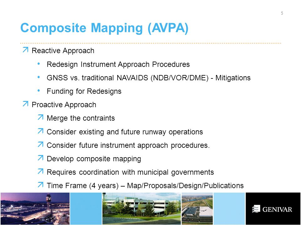 Composite Mapping (AVPA) 5 Reactive Approach Redesign Instrument Approach Procedures GNSS vs.