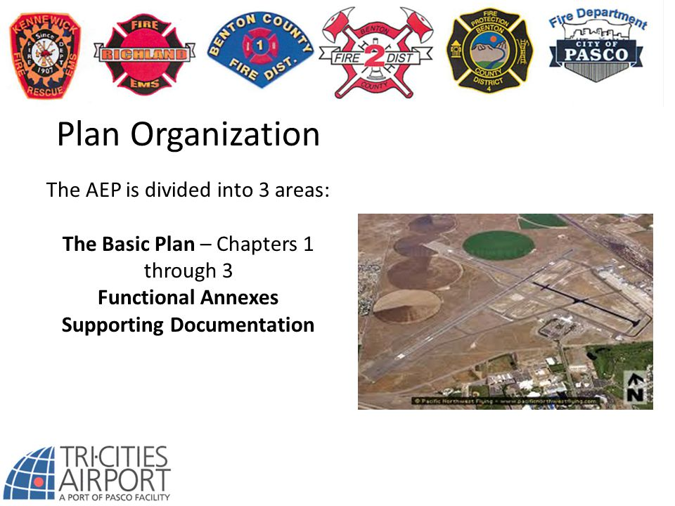 Plan Organization The AEP is divided into 3 areas: The Basic Plan – Chapters 1 through 3 Functional Annexes Supporting Documentation