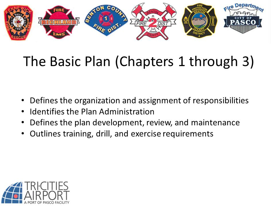 The Basic Plan (Chapters 1 through 3) Defines the organization and assignment of responsibilities Identifies the Plan Administration Defines the plan development, review, and maintenance Outlines training, drill, and exercise requirements
