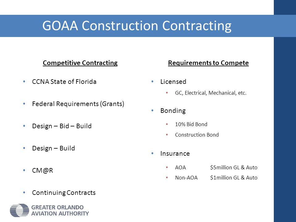 GOAA Construction Contracting Requirements to Compete Licensed GC, Electrical, Mechanical, etc. Bonding 10% Bid Bond Construction Bond Insurance AOA $