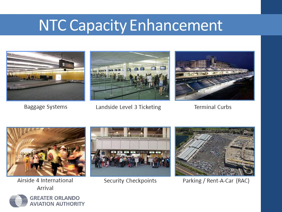 Baggage Systems Landside Level 3 Ticketing NTC Capacity Enhancement Airside 4 International Arrival Security Checkpoints Terminal Curbs Parking / Rent