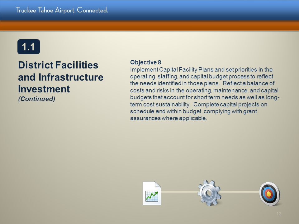 District Facilities and Infrastructure Investment (Continued) Objective 8 Implement Capital Facility Plans and set priorities in the operating, staffi