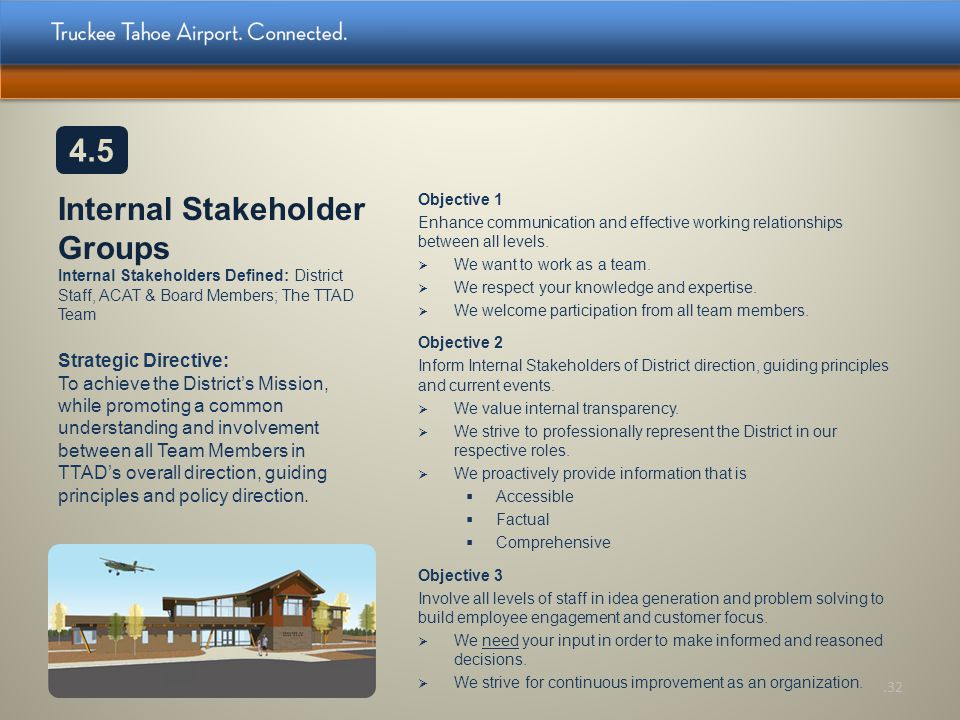 Internal Stakeholder Groups Internal Stakeholders Defined: District Staff, ACAT & Board Members; The TTAD Team Objective 1 Enhance communication and e