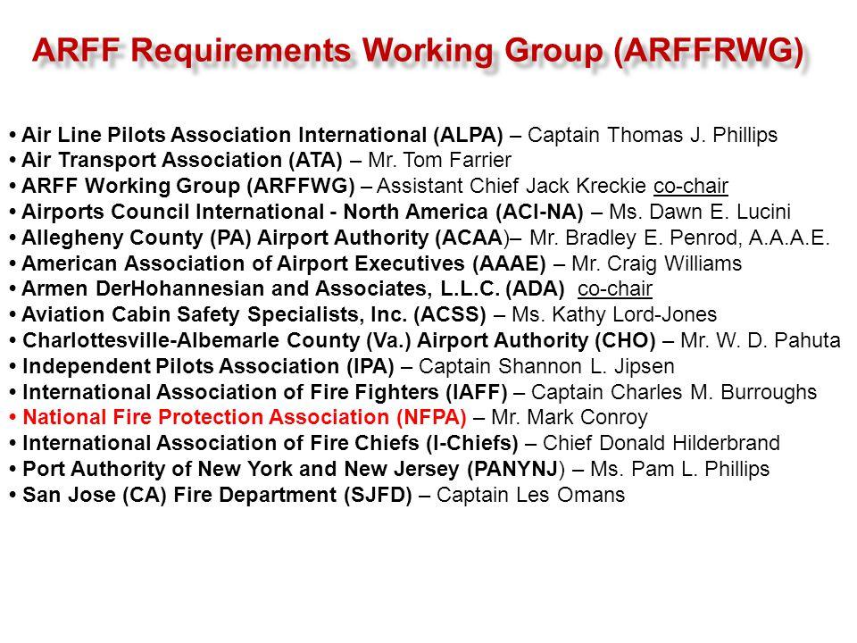 ARFF Requirements Working Group (ARFFRWG) Air Line Pilots Association International (ALPA) – Captain Thomas J. Phillips Air Transport Association (ATA