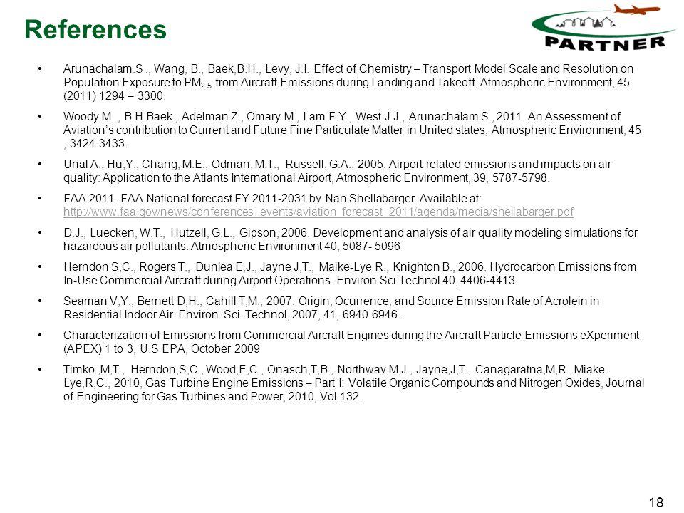 18 References Arunachalam.S., Wang, B., Baek,B.H., Levy, J.I.
