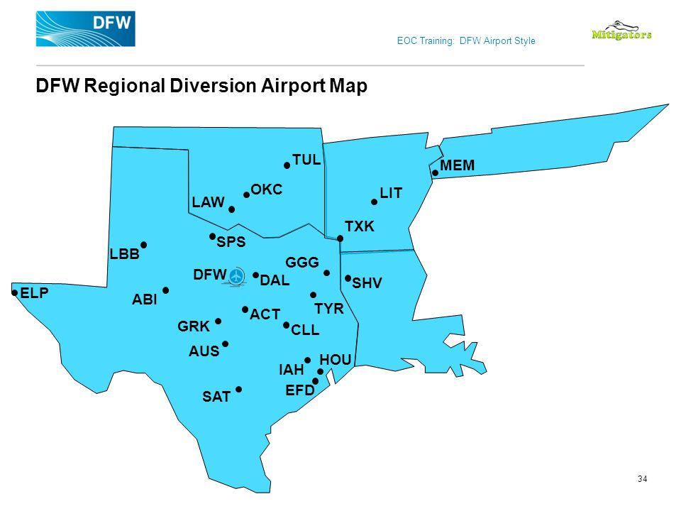 EOC Training: DFW Airport Style 34 DFW Regional Diversion Airport Map DFW IAH SPS TYR TXK GRK GGG CLL LAW ACT SHV OKC SAT LIT TUL MEM ABI DAL AUS ELP
