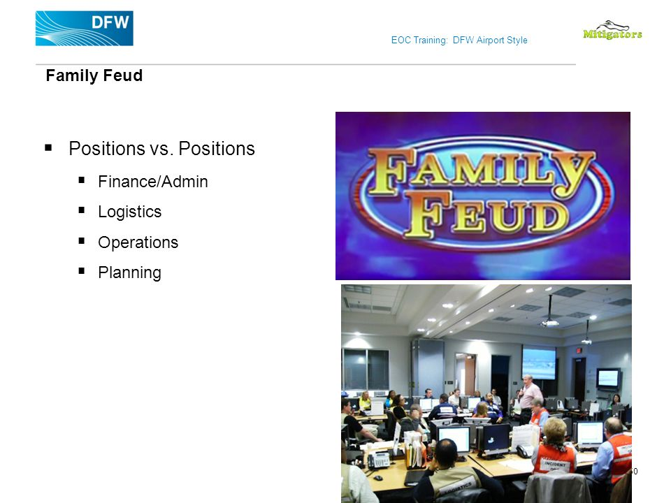 EOC Training: DFW Airport Style Positions vs. Positions Finance/Admin Logistics Operations Planning Family Feud 50