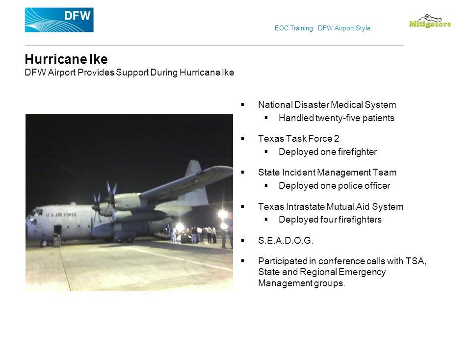 EOC Training: DFW Airport Style Hurricane Ike DFW Airport Provides Support During Hurricane Ike National Disaster Medical System Handled twenty-five p