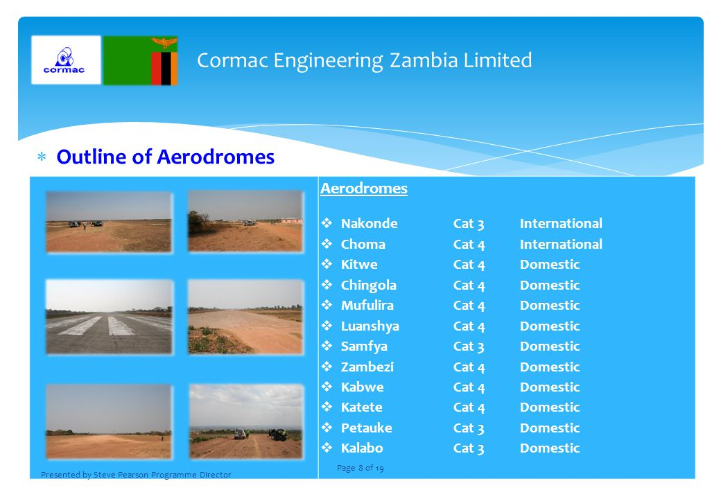 Outline of Aerodromes Aerodromes NakondeCat 3International ChomaCat 4International KitweCat 4Domestic ChingolaCat 4Domestic MufuliraCat 4Domestic LuanshyaCat 4Domestic SamfyaCat 3Domestic ZambeziCat 4Domestic KabweCat 4Domestic KateteCat 4Domestic PetaukeCat 3Domestic KalaboCat 3Domestic Cormac Engineering Zambia Limited Presented by Steve Pearson Programme Director Page 8 of 19