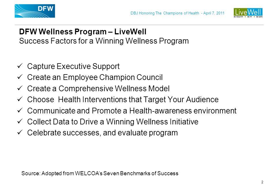 DBJ Honoring The Champions of Health - April 7, 2011 2 DFW Wellness Program – LiveWell Success Factors for a Winning Wellness Program Capture Executiv