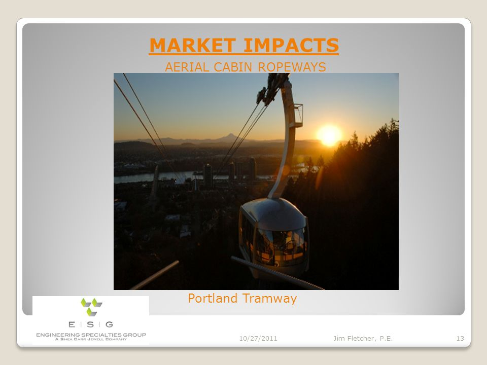 MARKET IMPACTS 10/27/2011 12 Jim Fletcher, P.E.