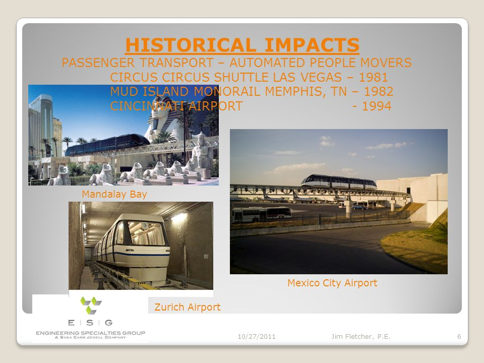 HISTORICAL IMPACTS 10/27/2011 5 Jim Fletcher, P.E. PASSENGER TRANSPORT – URBAN ROOSEVELT ISLAND TRAM NEW YORK