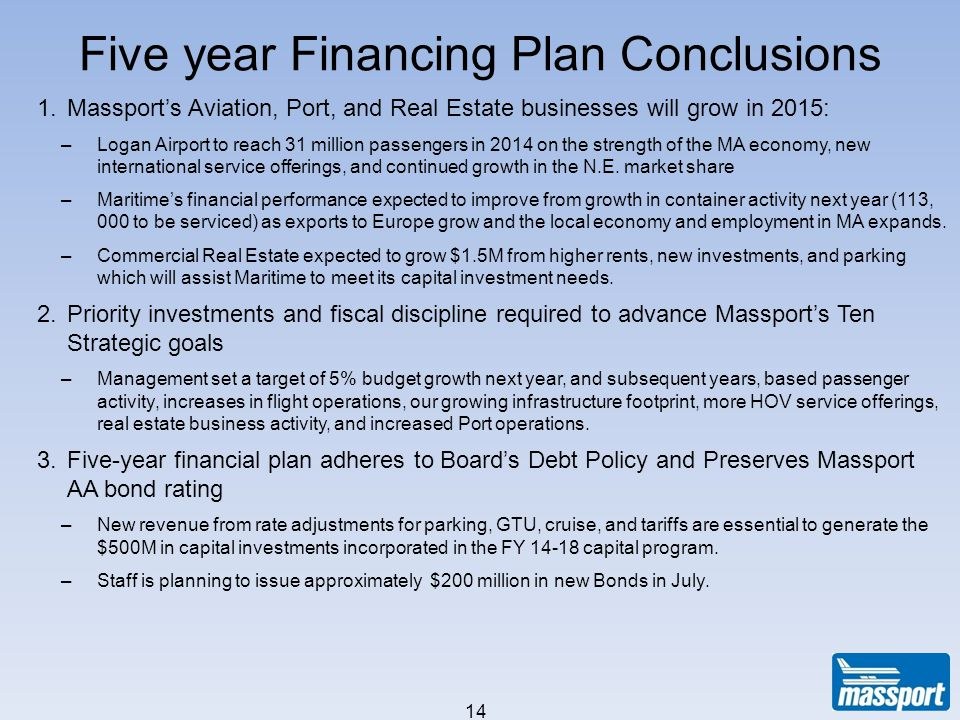 Five year Financing Plan Conclusions 14 1.Massports Aviation, Port, and Real Estate businesses will grow in 2015: –Logan Airport to reach 31 million p