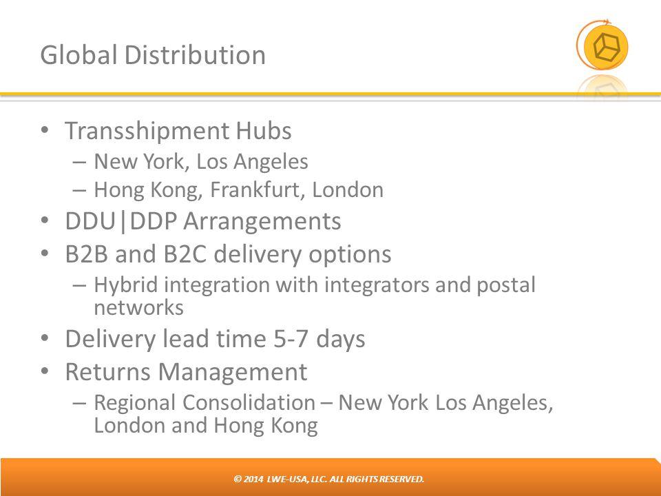 © 2014 LWE-USA, LLC. ALL RIGHTS RESERVED. Global Distribution Transshipment Hubs – New York, Los Angeles – Hong Kong, Frankfurt, London DDU|DDP Arrang