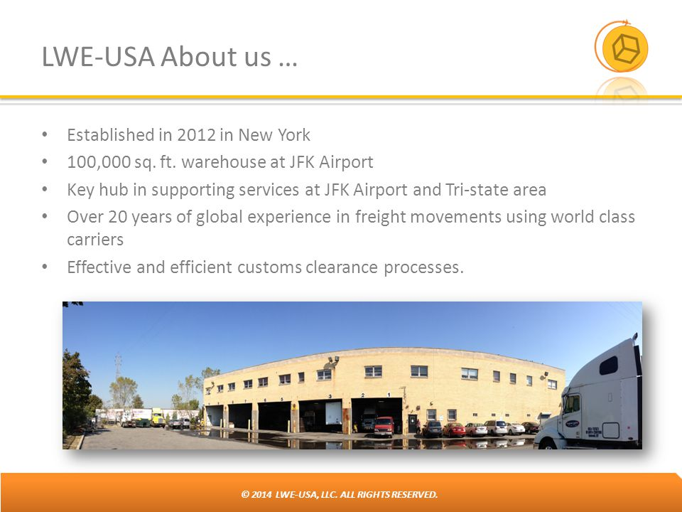 © 2014 LWE-USA, LLC. ALL RIGHTS RESERVED. LWE-USA About us … Established in 2012 in New York 100,000 sq. ft. warehouse at JFK Airport Key hub in suppo