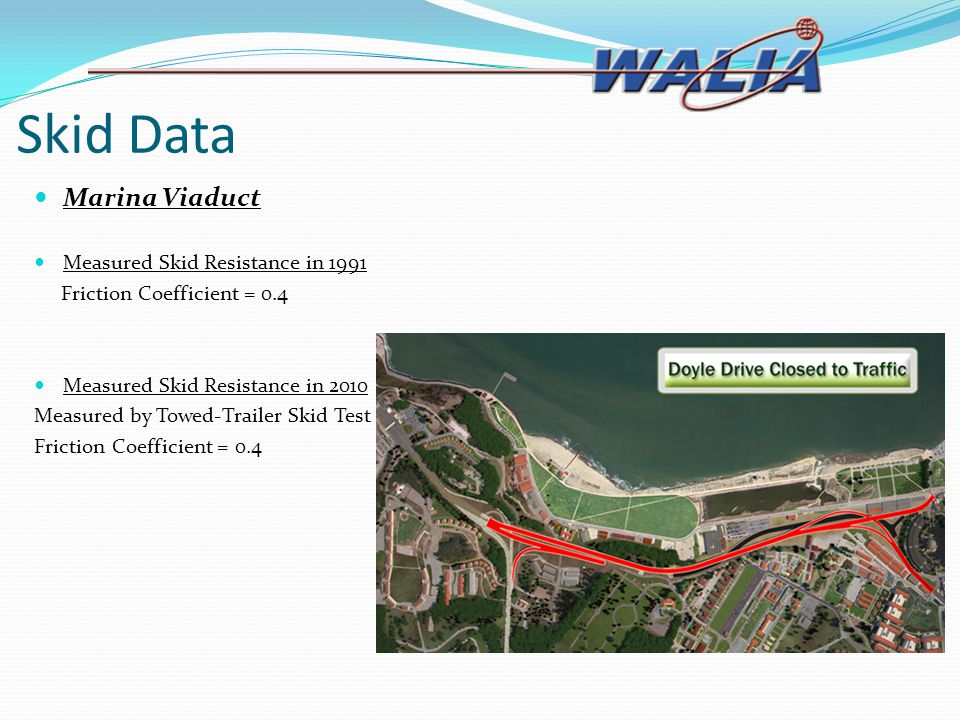 Skid Data Marina Viaduct Measured Skid Resistance in 1991 Friction Coefficient = 0.4 Measured Skid Resistance in 2010 Measured by Towed-Trailer Skid T