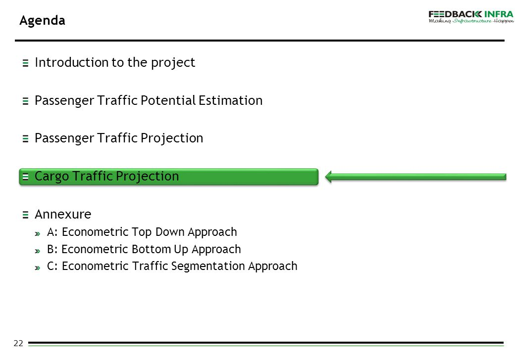 22 Agenda Introduction to the project Passenger Traffic Potential Estimation Passenger Traffic Projection Cargo Traffic Projection Annexure A: Econome