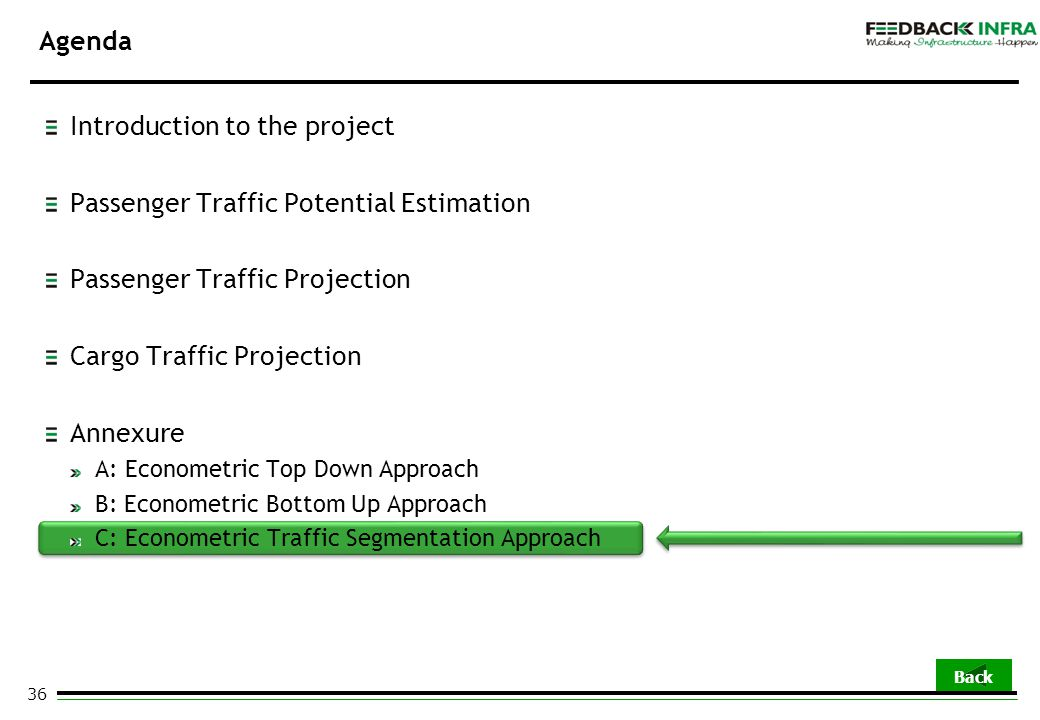 36 Agenda Introduction to the project Passenger Traffic Potential Estimation Passenger Traffic Projection Cargo Traffic Projection Annexure A: Econome