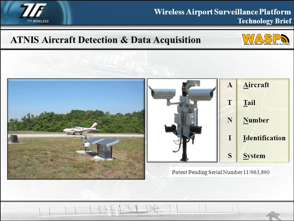 Wireless Airport Surveillance Platform Technology Brief ATNIS Aircraft Detection & Data Acquisition ATNISATNIS Aircraft Tail Number Identification System Patent Pending Serial Number 11/963,890
