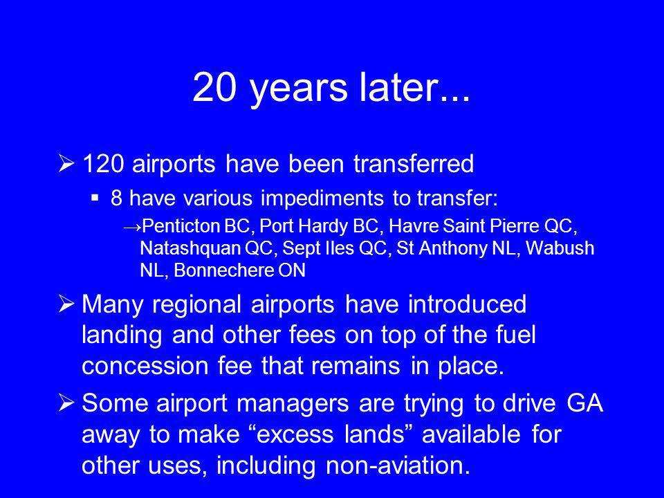 20 years later... 120 airports have been transferred 8 have various impediments to transfer: Penticton BC, Port Hardy BC, Havre Saint Pierre QC, Natas