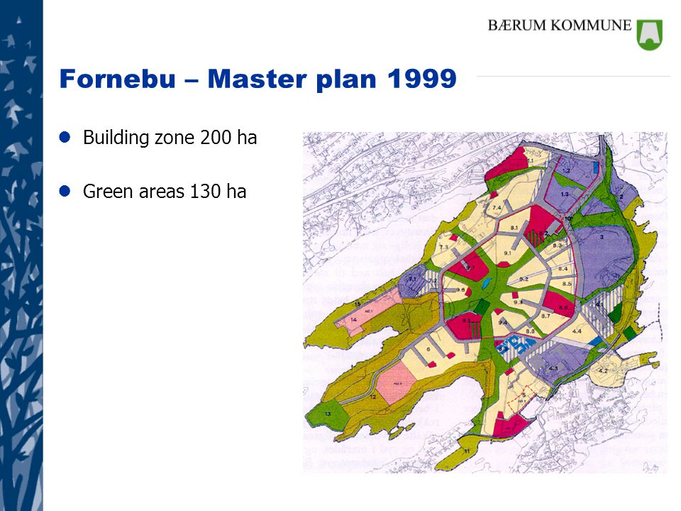 Fornebu – Master plan 1999 lBuilding zone 200 ha lGreen areas 130 ha