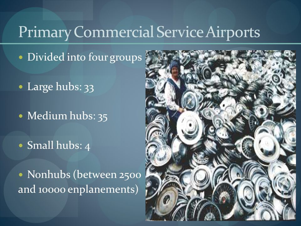 Primary Commercial Service Airports Divided into four groups Large hubs: 33 Medium hubs: 35 Small hubs: 4 Nonhubs (between 2500 and 10000 enplanements