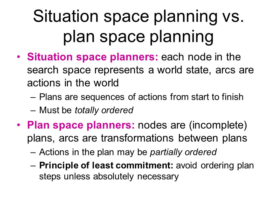Situation space planning vs.