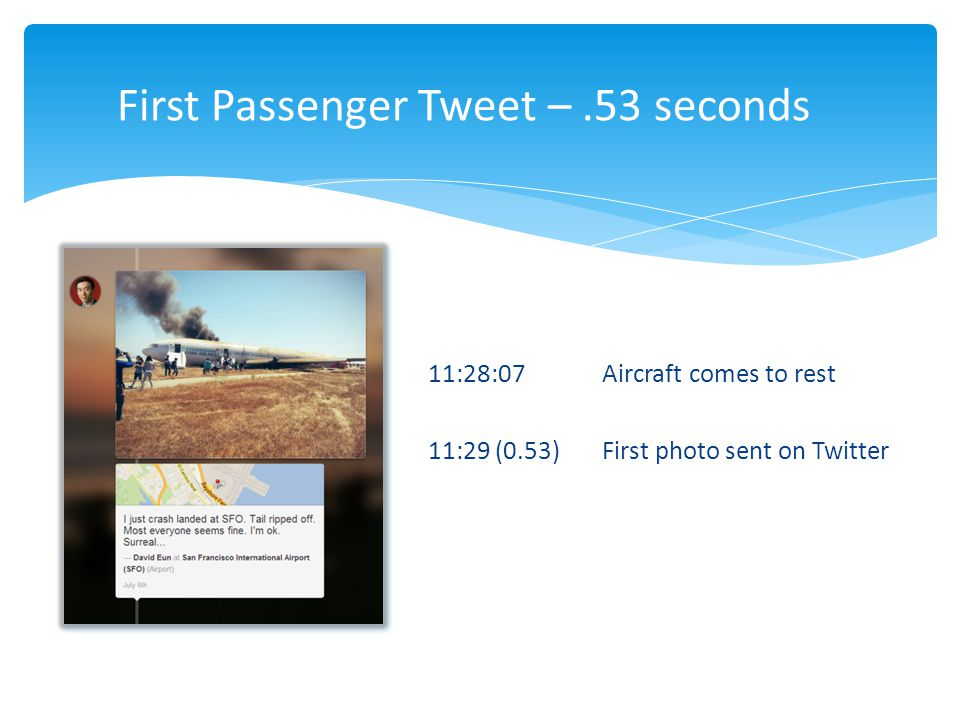 11:28:07 Aircraft comes to rest 11:29 (0.53)First photo sent on Twitter First Passenger Tweet –.53 seconds