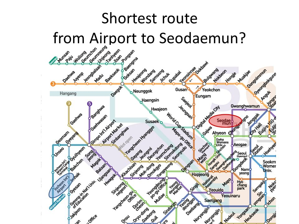 Shortest route from Airport to Seodaemun?