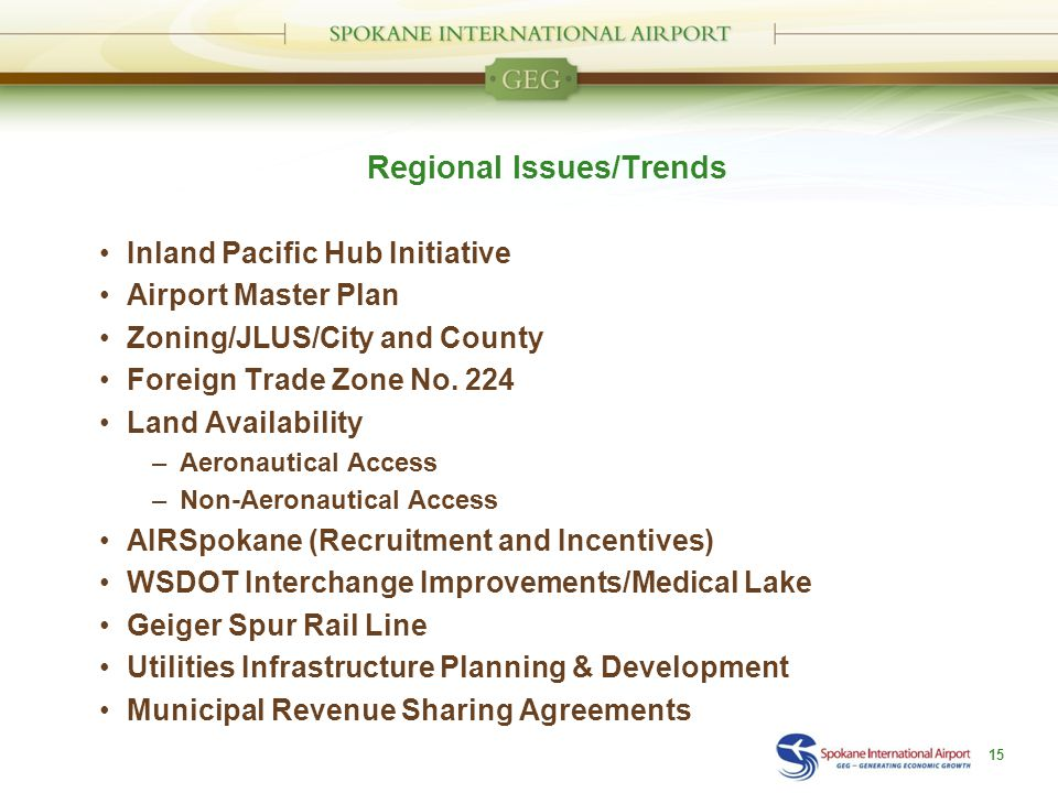 Regional Issues/Trends Inland Pacific Hub Initiative Airport Master Plan Zoning/JLUS/City and County Foreign Trade Zone No.