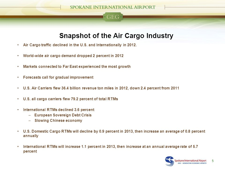 Snapshot of the Air Cargo Industry Air Cargo traffic declined in the U.S.