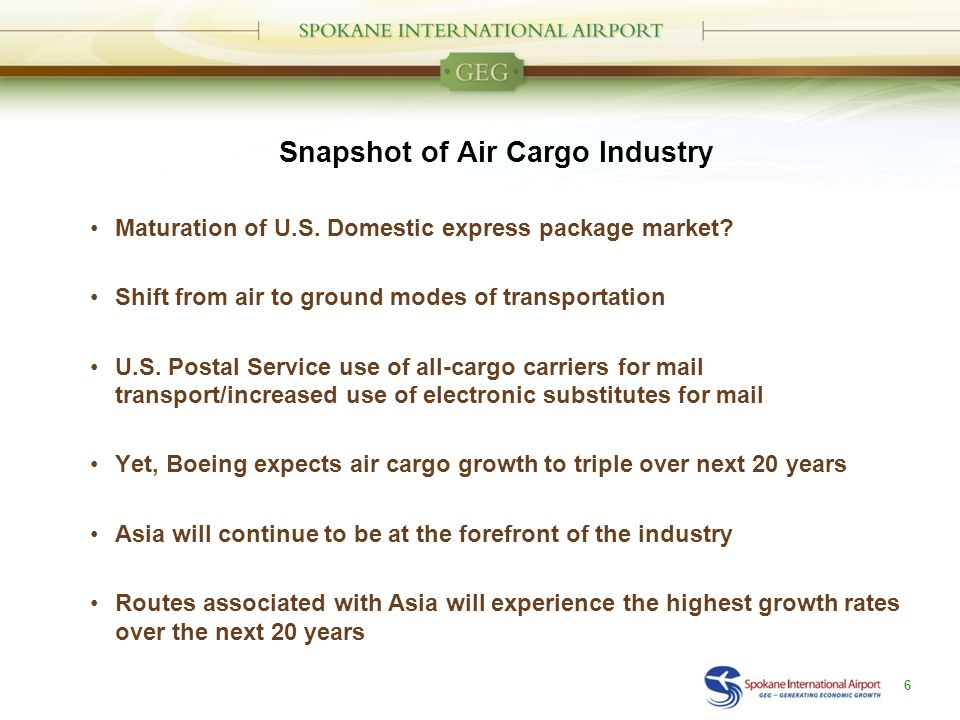 Snapshot of Air Cargo Industry Maturation of U.S. Domestic express package market.