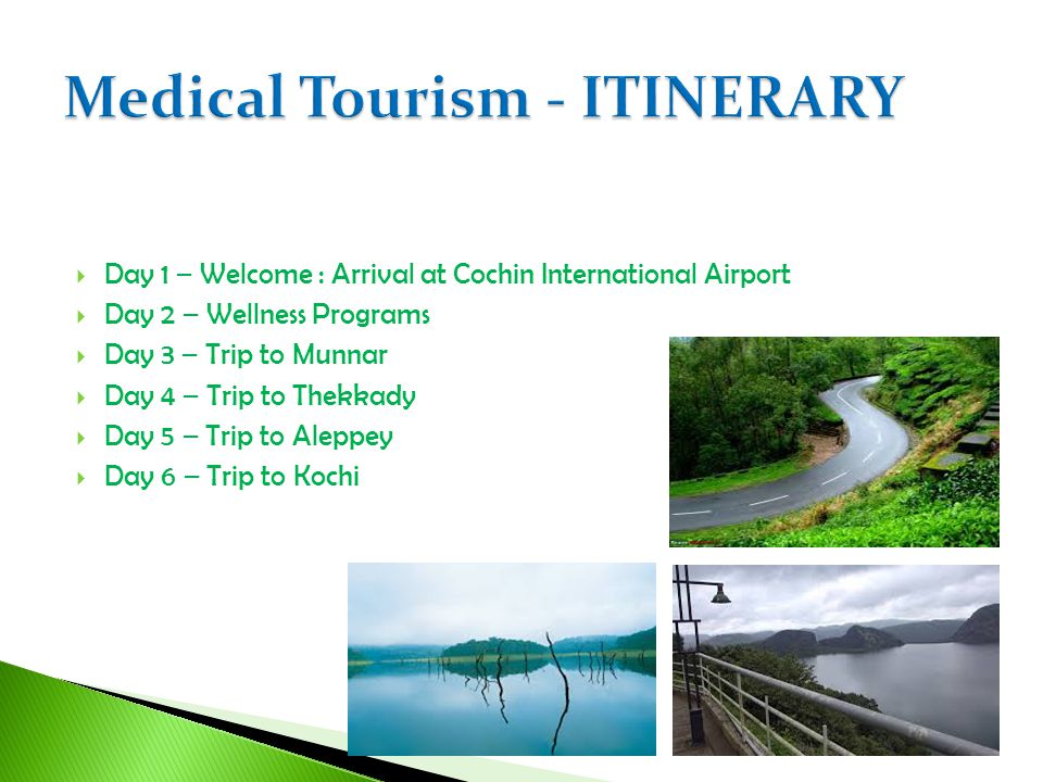 Day 1 – Welcome : Arrival at Cochin International Airport Day 2 – Wellness Programs Day 3 – Trip to Munnar Day 4 – Trip to Thekkady Day 5 – Trip to Al