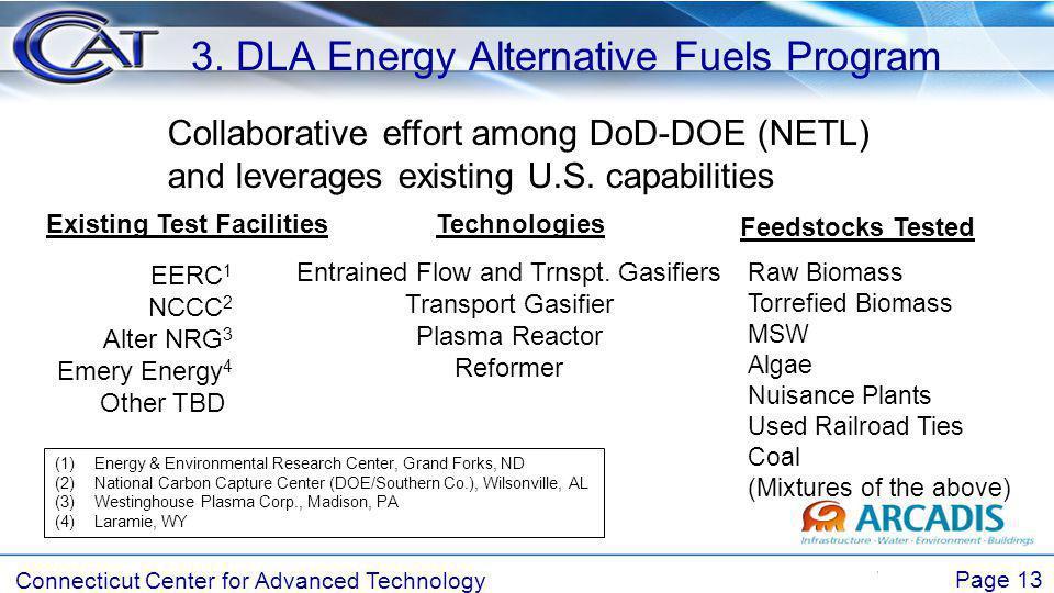 Connecticut Center for Advanced Technology Page 13 3. DLA Energy Alternative Fuels Program Collaborative effort among DoD-DOE (NETL) and leverages exi