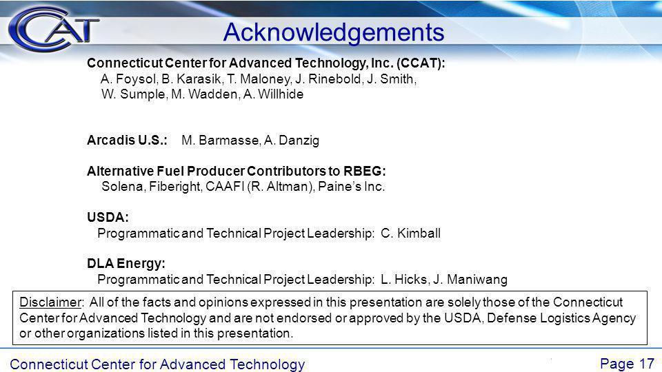 Connecticut Center for Advanced Technology Page 17 Acknowledgements Connecticut Center for Advanced Technology, Inc.