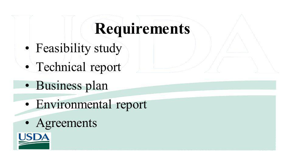 Requirements Feasibility study Technical report Business plan Environmental report Agreements