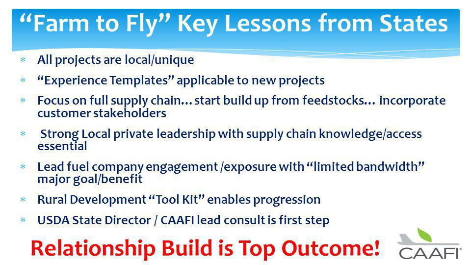 Farm to Fly Key Lessons from States All projects are local/unique Experience Templates applicable to new projects Focus on full supply chain…start build up from feedstocks… incorporate customer stakeholders Strong Local private leadership with supply chain knowledge/access essential Lead fuel company engagement /exposure with limited bandwidth major goal/benefit Rural Development Tool Kit enables progression USDA State Director / CAAFI lead consult is first step Relationship Build is Top Outcome!