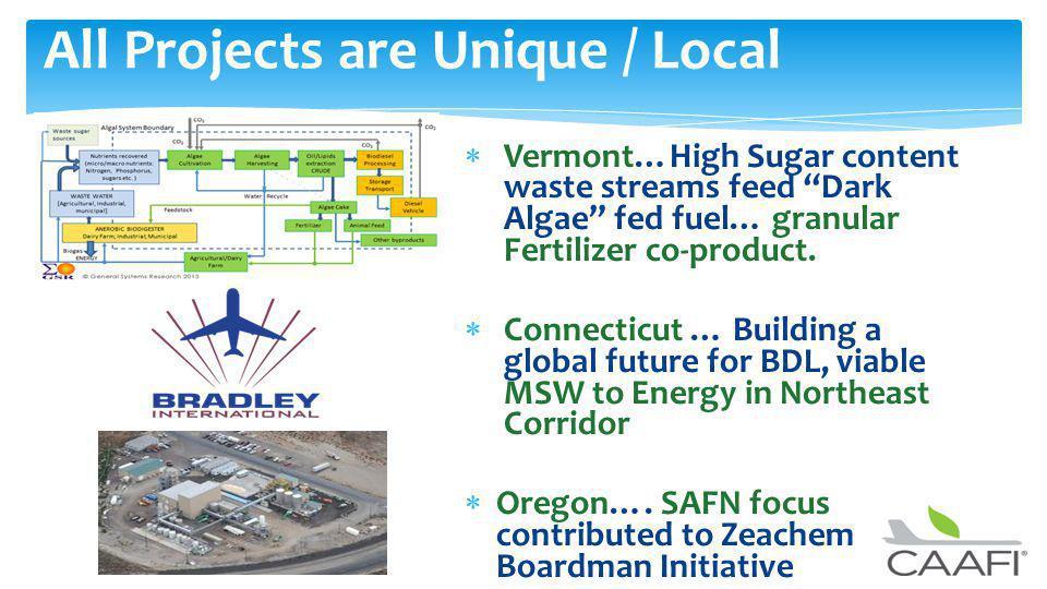 Vermont…High Sugar content waste streams feed Dark Algae fed fuel… granular Fertilizer co-product.
