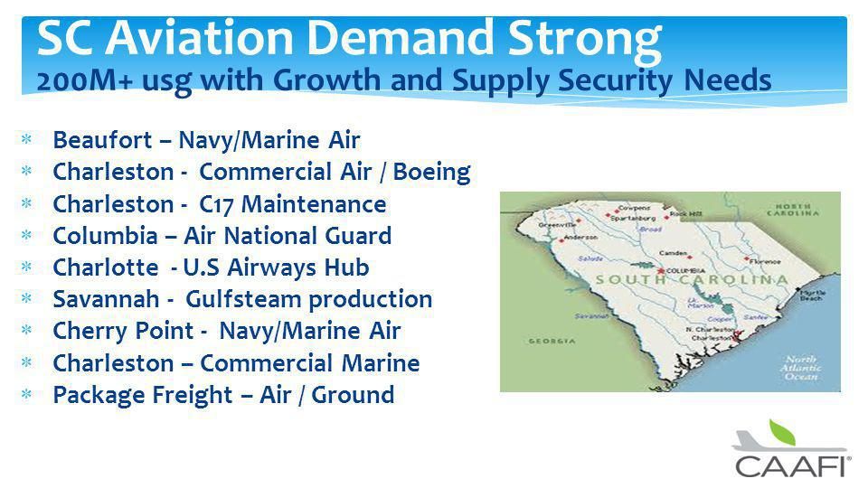 SC Aviation Demand Strong 200M+ usg with Growth and Supply Security Needs Beaufort – Navy/Marine Air Charleston - Commercial Air / Boeing Charleston - C17 Maintenance Columbia – Air National Guard Charlotte - U.S Airways Hub Savannah - Gulfsteam production Cherry Point - Navy/Marine Air Charleston – Commercial Marine Package Freight – Air / Ground