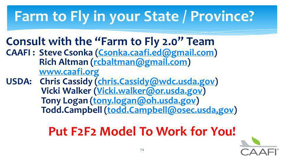 Consult with the Farm to Fly 2.0 Team CAAFI : Steve Csonka (Csonka.caafi.ed@gmail.com)Csonka.caafi.ed@gmail.com Rich Altman (rcbaltman@gmail.com)rcbal