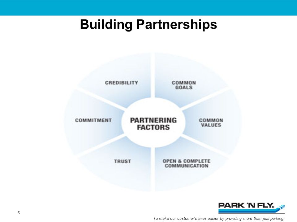 To make our customers lives easier by providing more than just parking. Building Partnerships 6