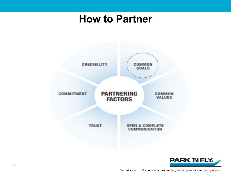To make our customers lives easier by providing more than just parking. How to Partner 8