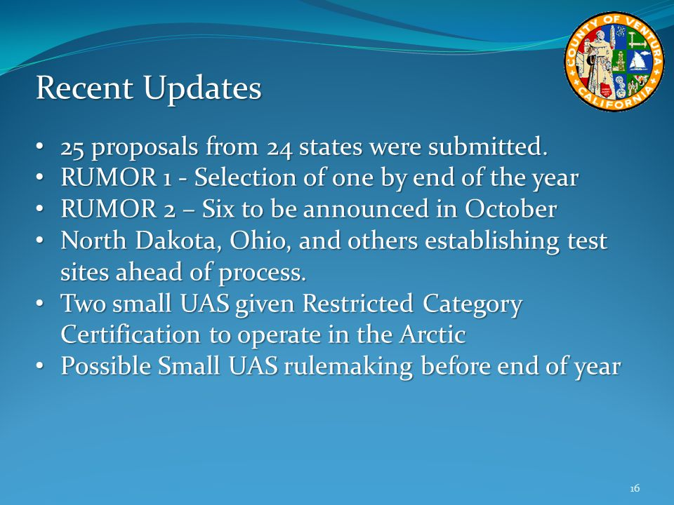 Recent Updates 25 proposals from 24 states were submitted.