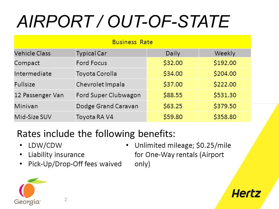 ONE WAY RENTALS Drop fees waived in Georgia One-Way Charges will not apply to rentals picked up and dropped off within the state of Georgia (excludes Airport) A mileage fee of $0.25/mile will apply to Airport rentals and rentals picked up or dropped off outside Georgia 13